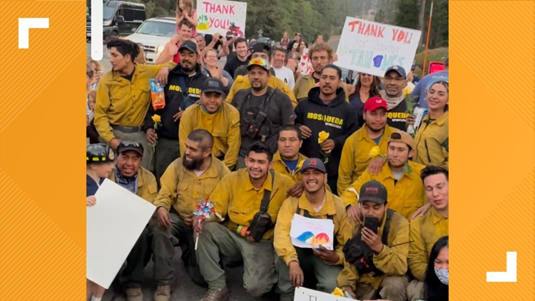 'The whole town just showed up'   Departing firefighters met with goodbye celebration after saving Tahoe