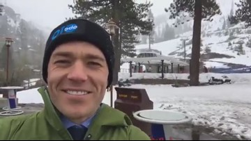Winter in Spring! Snowboarders enjoying odd weather in Squaw Valley