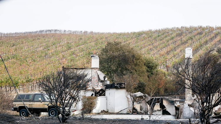 A destroyed house from the Napa Fire on October 10, 2017 in Carneros a town just outside of Napa, California. Firefighters battled wildfires in California's wine region on October 10 as the death toll rose to 15 and thousands were left homeless in neighborhoods reduced to ashes. / AFP PHOTO / Amy Osborne (Photo credit should read AMY OSBORNE/AFP/Getty Images)