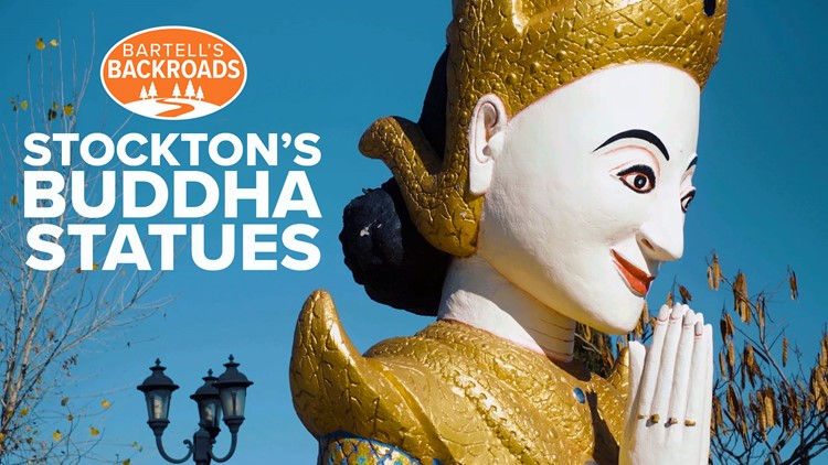 The lonely statues at Wat Dhammararam, Stockton's Cambodian Buddhist Temple | Bartell's Backroads