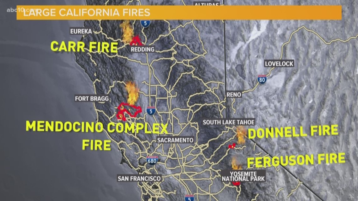 Donnells Fire Map.Mendocino Complex Fire Update Now The Largest Fire In California