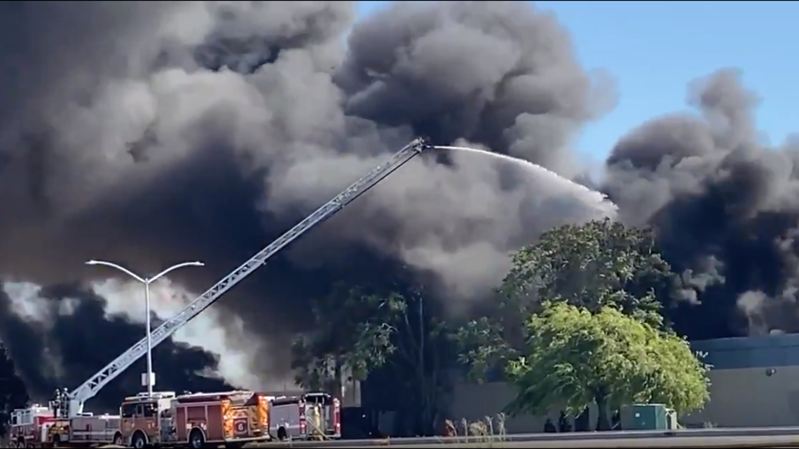 Airport Way shut down after fire at mattress recycling center in Stockton