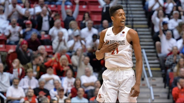 San Diego State Aztecs forward Malik Pope (21) reacts during the first half against the Gonzaga Bulldogs at Viejas Arena. (PHOTO: Jake Roth-USA TODAY Sports)