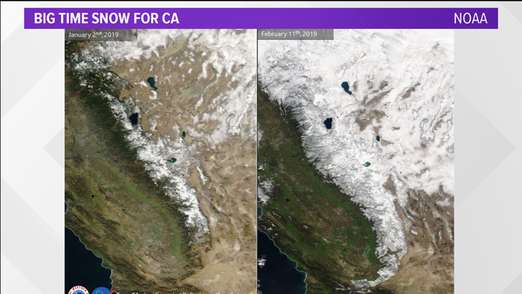 Comparing Sierra snow from January to February