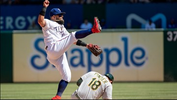 Rangers double up A's 10-5 in 1st game of split doubleheader