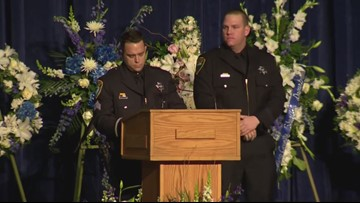 RAW: Sgt. Eric Labbe speaks at Officer Natalie Corona's memorial service