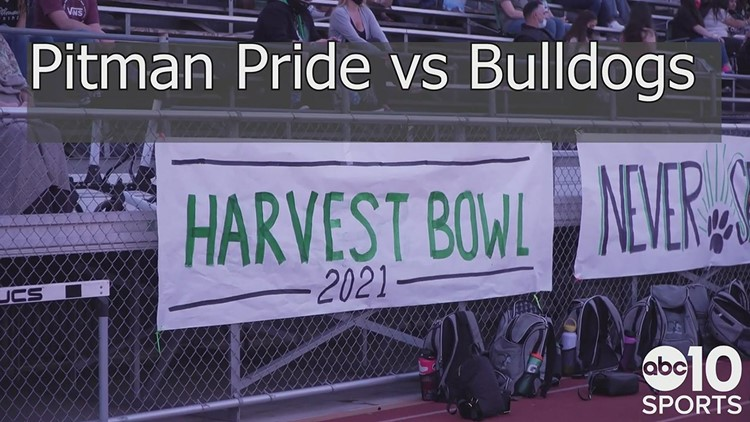 The Turlock Bulldogs maul the Pitman Pride 49-7 in the spring football edition of the Harvest Bowl