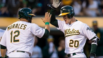 Canha hits 2-run HR, Anderson sharp as A's top Angels 4-2