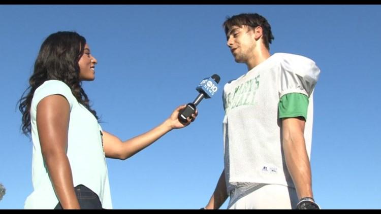 ABC10's Lina Washington interviews St. Mary's international exchange student and football player Nicolas Reis during practice. (PHOTO: Lina Washington)