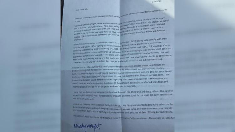 Letter from online retailer
