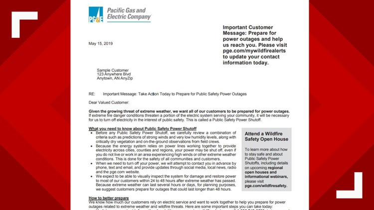 PG&E warning customers it could cut power to cities for days to prevent  fires | Connect the Dots