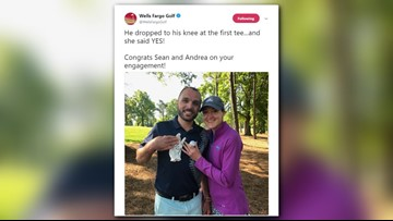 Golfer Justin Thomas helps couple get engaged at Wells Fargo Championship