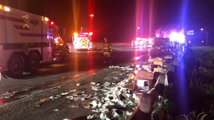 Truck carrying toilet paper catches fire, shuts down Texas highway