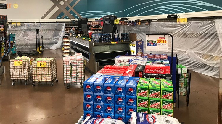 Dairy products cordoned off after electricity outage at Kroger on North Haskell Avenue in Dallas