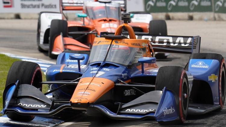 Felix Rosenqvist awake and alert after violent crash stops IndyCar race in Detroit