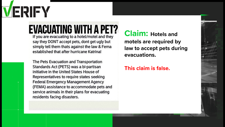 VERIFY: Hotels and Motels don't have to take pets