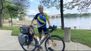 Leukemia survivor rides bike cross country to save others in need of a bone marrow transplant