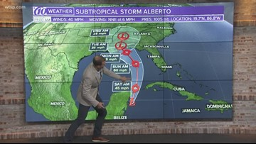 Subtropical Storm Alberto expected to move into Gulf of Mexico early Saturday
