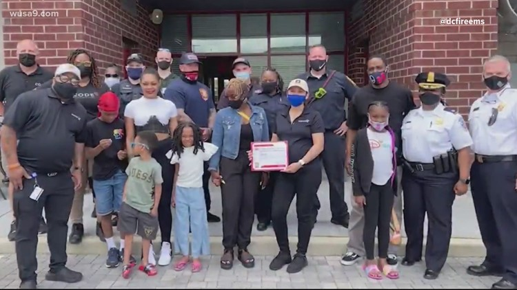 DC firefighters and police surprise 7-year-old shooting victim with trip to Disney World