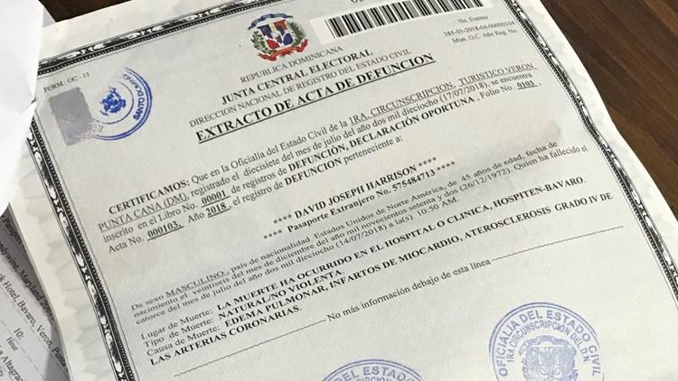 David Harrison's death certificate from the Dominican Republic