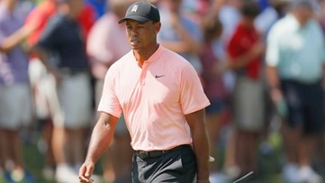 Tiger Woods tied for 1st place at Tour Championship, first round in Atlanta since 2013