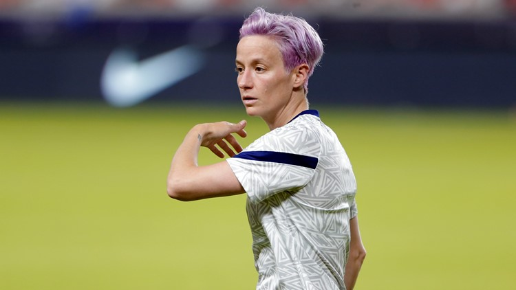 Megan Rapinoe reacts after USWNT opener against Sweden at Olympics